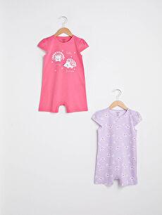 Crew Neck Sleeveless Printed Baby Girl Jumpsuit 2 Pieces