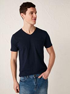 LCW CASUAL V Yaka Kısa Kollu Basic Pamuklu Erkek Tişört
