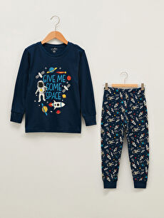 Bisiklet Yaka Baskılı Uzun Kollu Erkek Çocuk Pijama Takımı