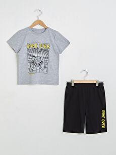 Bisiklet Yaka Baskılı Kısa Kollu Erkek Çocuk Şortlu Pijama Takımı