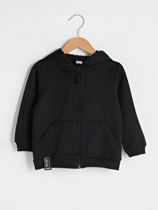 Kapüşonlu Uzun Kol Basic Erkek Bebek Fermuarlı Sweatshirt