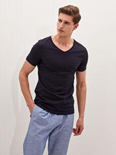 V Neck Short Sleeve Cotton Men's Undershirt