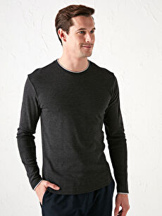Crew Neck Long Sleeve Men's Undershirt