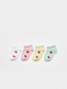 Printed Baby Girl Booties Socks 4 Pieces