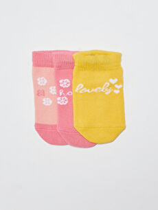Patterned Baby Girl Booties Socks 3 Pieces