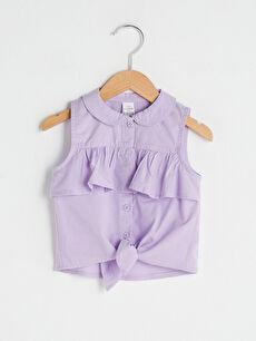 Bebe Yaka Fırfır Detaylı Kız Bebek Gömlek