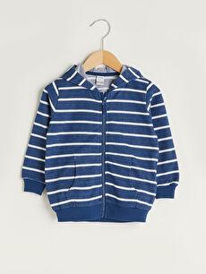 Kapüşonlu Uzun Kollu Çizgili Erkek Bebek Fermuarlı Erkek Bebek Sweatshirt