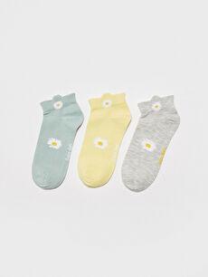 Çiçek Baskılı Kadın Patik Çorap 3'lü