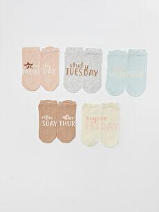 Baskılı Kadın Soket Çorap 5'li
