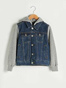 Kapüşonlu Erkek Çocuk Jean Ceket