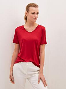 V Yaka Düz Kısa Kollu Kadın Tişört
