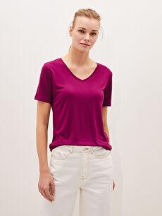 LCW BASIC V Yaka Düz Kısa Kollu Kadın Tişört
