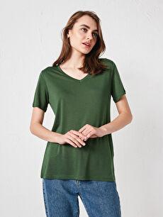 V Yaka Kısa Kollu Basic Tişört