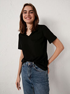 V Yaka Pamuklu Basic Tişört