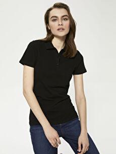 LCW BASIC Polo Yaka Düz  Kısa Kollu Pike Kadın Tişört