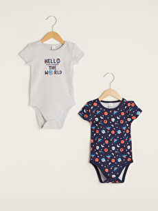 Crew Neck Short Sleeve Printed Baby Boy Body With Snap Fastener 2 Pieces