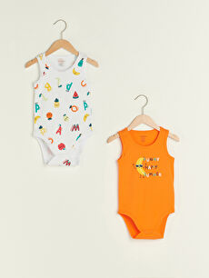 Crew Neck Printed Cotton Baby Boy Body With Snap Fastener 2 Pieces