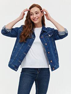 LCW CLASSIC Ceket Yaka Düğme Kapamalı Uzun Kollu Kadın Jean Ceket