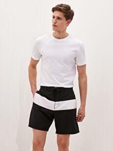 Men's Knee-Length Color-Blocked Swim Shorts