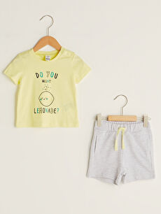 Crew Neck Short Sleeve Printed Baby Boy T-Shirt and Shorts 2-Piece Set