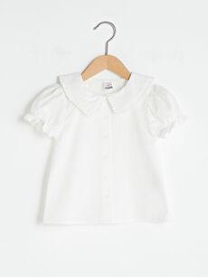 Kısa Kol Basic Kız Bebek Poplin Gömlek