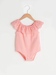 Fırfırlı Kayık Yaka Basic Kız Bebek Çıtçıtlı Body