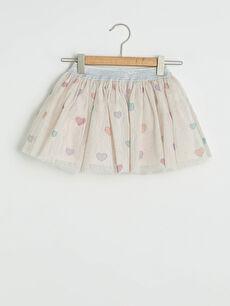 Elastic Waist Patterned Baby Girl Tulle Skirt