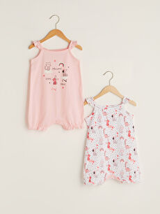 Square Neck Strap Printed Baby Girl Jumpsuit 2 Pieces