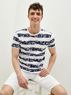 LCW CASUAL Crew Neck Short Sleeve Striped Combed Cotton Men's T-Shirt