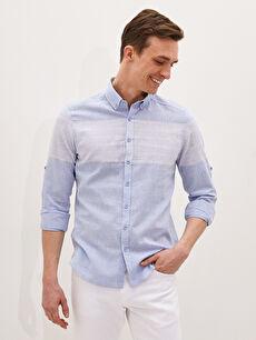 LCW CLASSIC Slim Fit Long Sleeve Linen Men Shirt
