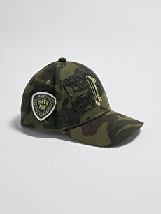 Camouflage Patterned Label Printed Boy Hat
