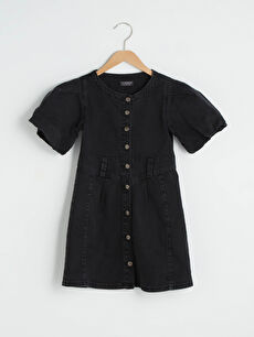 Crew Neck Button Detailed Short Sleeve Girl's Jean Dress