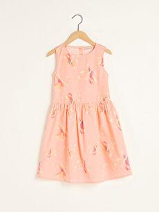 Girl's Figured Poplin Dress