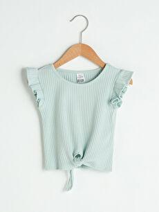 Bisiklet Yaka Kısa Kollu Pamuklu Kız Bebek Tişört