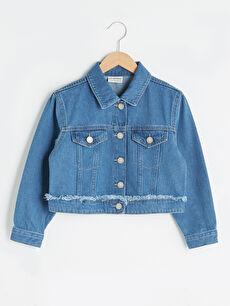Gömlek Yaka Pamuklu Kız Çocuk Jean Ceket