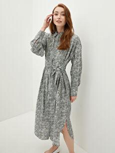 MODEST Gömlek Yaka Desenli Uzun Kollu Beli Kuşaklı Kadın Elbise