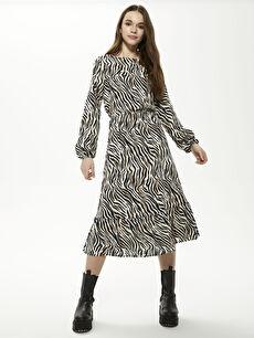 Beli Büzgülü Desenli Viskon Elbise