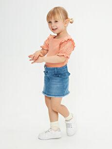 LCW GREEN Basic Kız Bebek Jean Etek