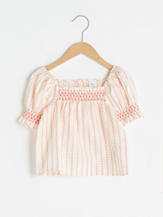 Square Neck Short Sleeve Embroidery Detailed Cotton Baby Girl Blouse