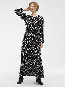 Beli Kuşaklı Desenli Viskon Elbise