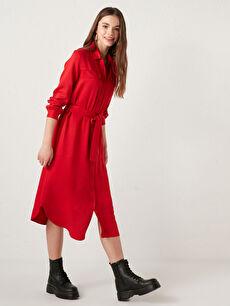 LCW CASUAL Gömlek Yaka Beli Kuşaklı Uzun Kollu Belmando Kadın Elbise