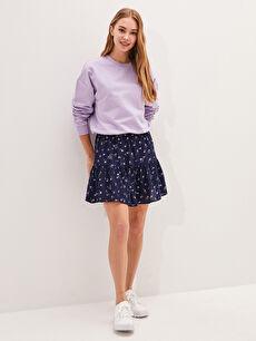 LCW CASUAL Elastic Waist Floral Pattern Maroque Fabric Women's Skirt