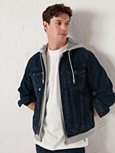 Standart Kalıp Kapüşonlu Erkek Jean Ceket