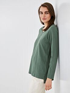 LCW GRACE V Yaka Basic Uzun Kollu Kadın Tişört