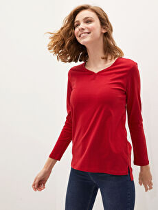 V Yaka Basic Uzun Kollu Kadın Tişört