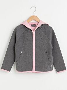 Kapüşonlu Basic Uzun Kollu Kız Çocuk Fermuarlı Sweatshirt