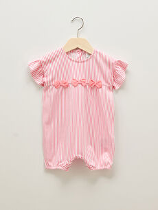 Crew Neck Short Sleeve Striped Cotton Baby Girl Rompers