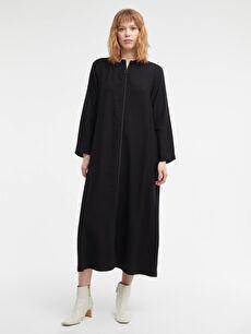 Fermuar Kapamalı Uzun Keten Elbise