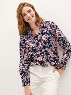 LCW GRACE Kaçık Yaka Çiçek Baskılı Uzun Kollu Poplin Kadın Bluz