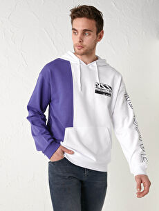 LCW CASUAL Long Sleeve Printed Thick Men's Sweatshirt with Hood